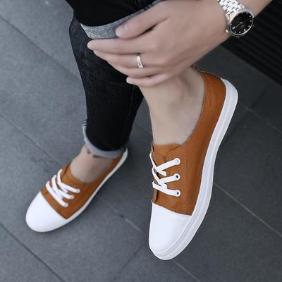 懒人免系带一脚蹬小白鞋男棕色低帮单层真皮学生浅口潮鞋平底板鞋