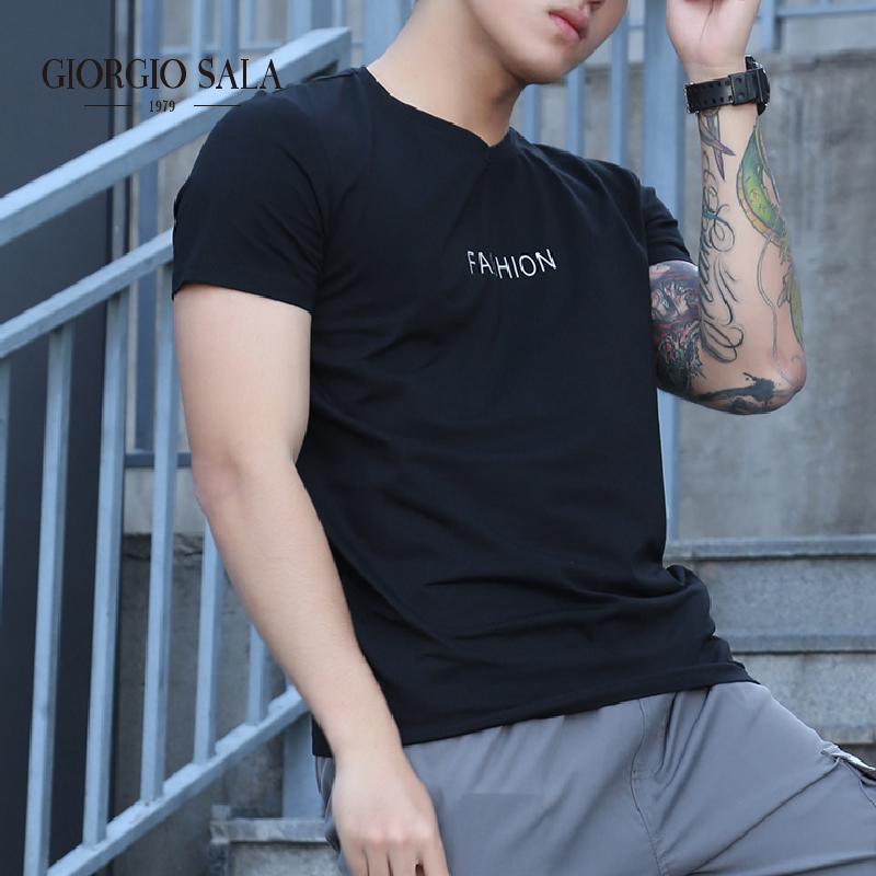 giorgio salaファッション男装夏服シンプルアルファベットプリント黒半袖女性カジュアルカップルTシャツ