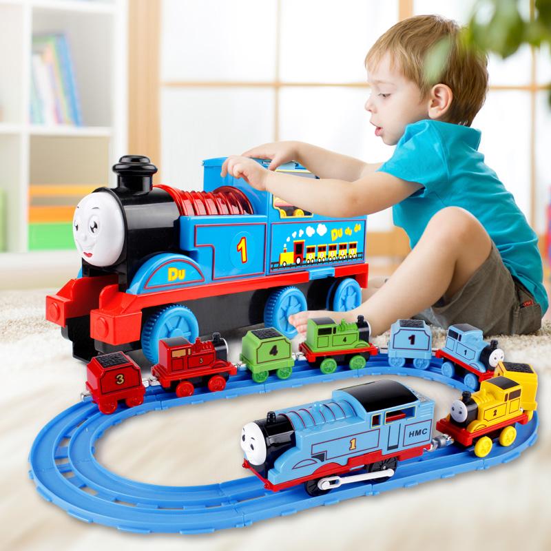 大号拖马斯轨道儿童小火车头电动惯性合金汽车4套装玩具3-6岁男孩
