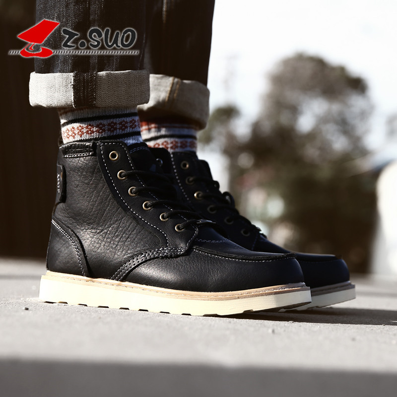 Walking rope Martin boots mens warm mens cotton shoes high top spring Plush Snow Boots Mens British Military Boots Mens Boots