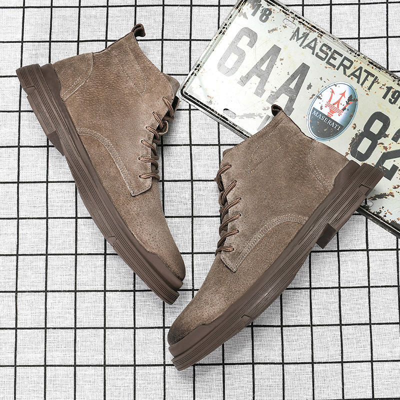 Boots spring new leather mens Shoes Boots Mens high top work clothes shoes middle top mens British Wind army boots desert short Martin