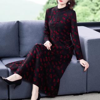 秋装2021年新款女装贵夫人阔太太中年妈妈长袖碎花连衣裙子春秋季