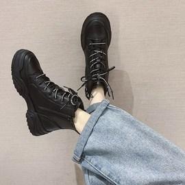 休闲短靴女秋冬2020新款韩版百搭时尚厚底系带高帮鞋侧拉链马丁靴图片