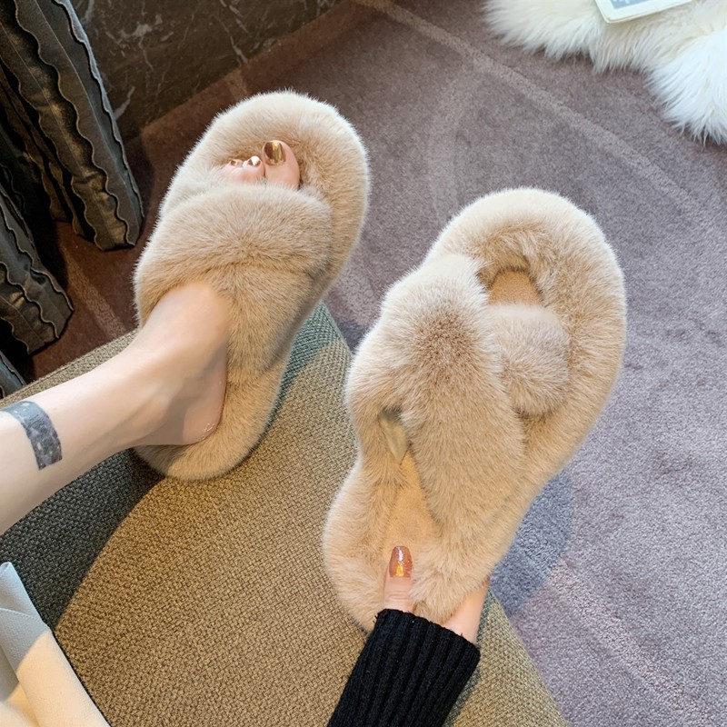 毛毛拖鞋女外穿2021新款韩版真兔毛鞋秋冬家用家居棉拖鞋子春夏季