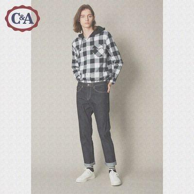 C&A纯色水洗磨白牛仔裤男 秋季学生时尚休闲纯棉直筒裤ECD218044