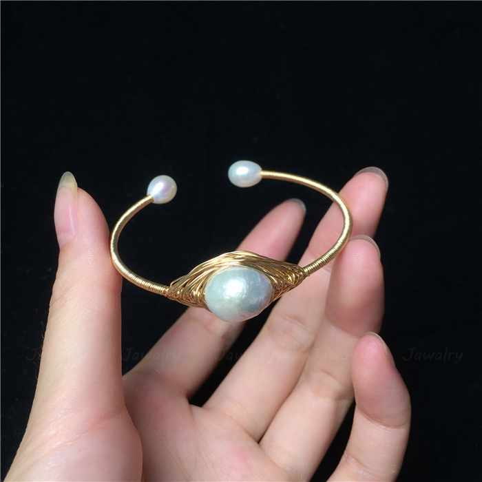 Jawally bracelet bracelet ring baroque pearl exaggerated personality net red unique fashion handmade 14K wrapped gold opening
