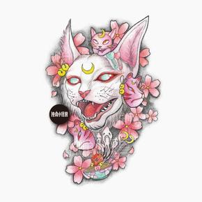 独角小怪兽手绘 樱花猫神 浮世绘暗黑系纹身贴日式猫咪少女花臂