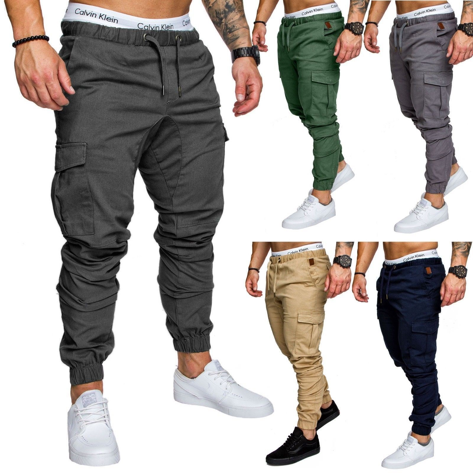 Men pocket casual pants stretch pants youth sport pants 男裤