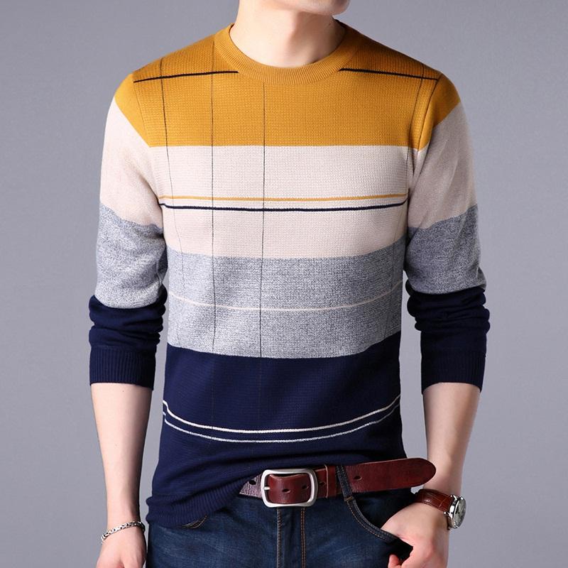 男士毛衣男韩版圆领秋冬季新款线衣男薄款修身加绒针织衫男装外套