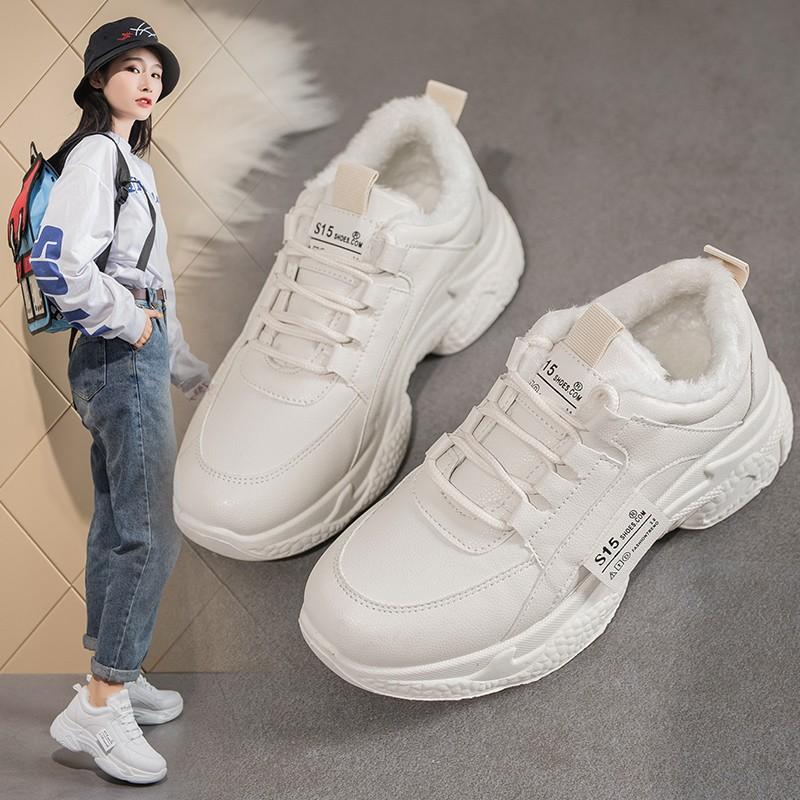 小白鞋女冬季加绒2019新款百搭韩版学生板鞋加厚保暖防滑二棉鞋子