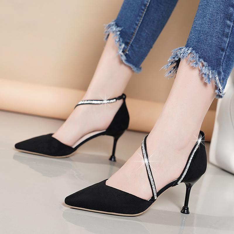 包头凉鞋女中侧后空高跟鞋女尖头2019春夏季新款百搭气质性感细跟