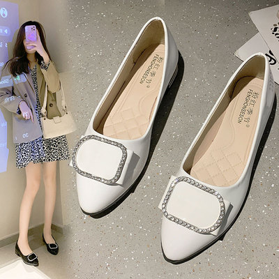 Flat single shoes women's spring and autumn 2021 new wild Korean version of shallow mouth women's shoes soft soled shoes scoop shoes grandma shoes autumn