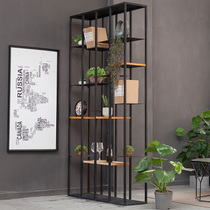 Office partition commercial screen iron floor lattice frame industrial wind shelf rack gate off Retro bookshelf