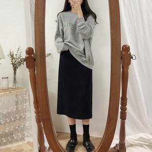2018秋冬新款高腰显瘦黑色中长款卫衣搭半身裙女A字裙包臀裙子