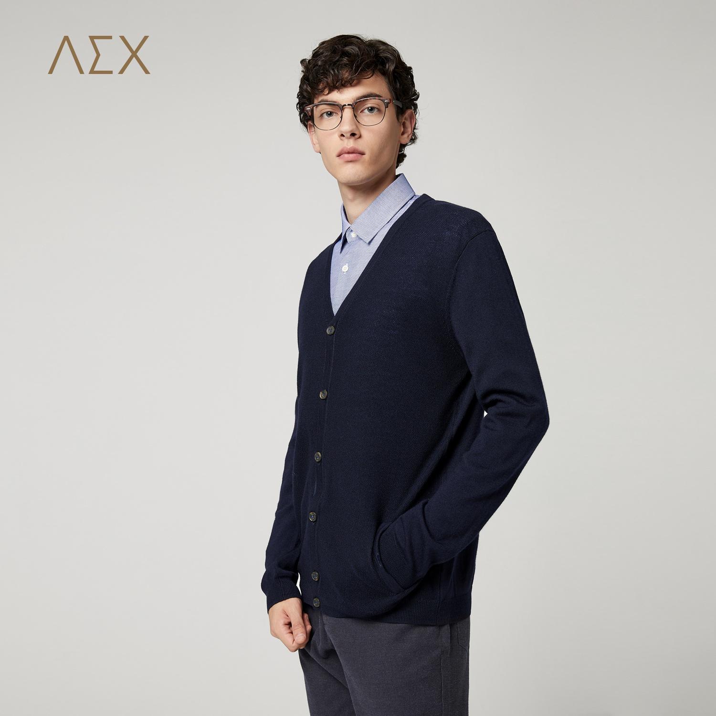 AEX男装外套英伦风藏青净色羊毛衫针织开衫