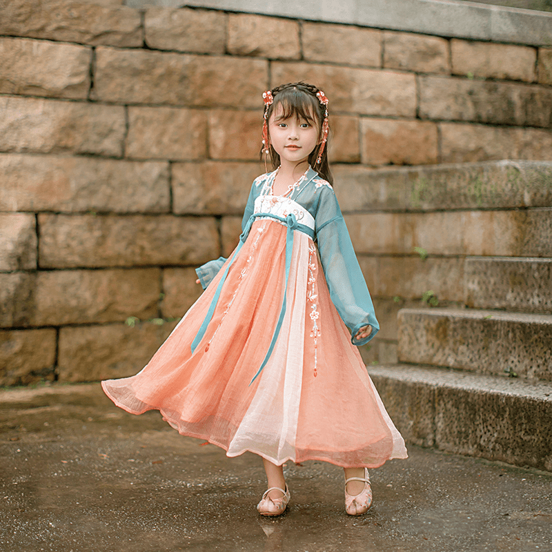 Chu Li's original and improved Hanfu girl's uniform small coral chest dress Chinese style baby fairy's daily spring and summer