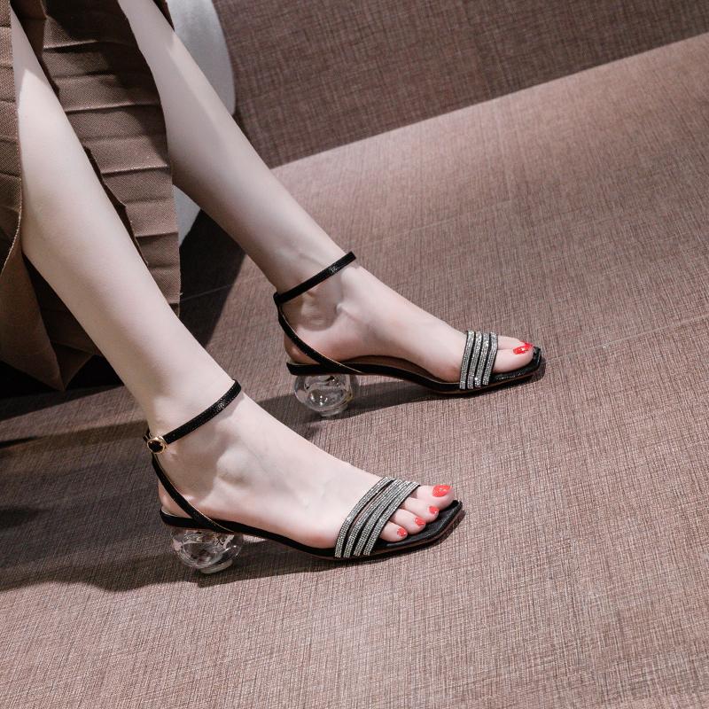 一字带水钻粗跟凉鞋仙女风2021夏季新款网红百搭黑色高跟鞋水晶跟