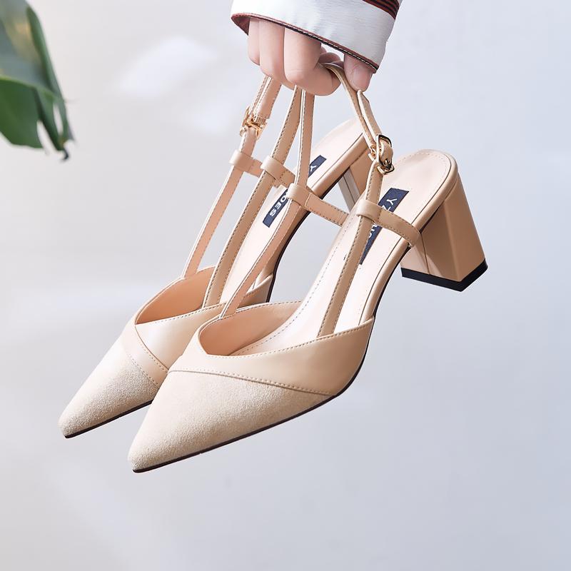 2021春秋季新款裸色少女尖头高跟鞋女粗跟百搭中跟单鞋后空凉鞋夏