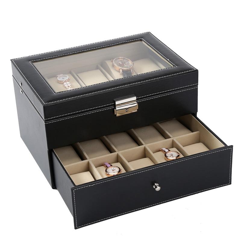 Boutique yapo skylight double 20 position watch storage box finishing box jewelry display box Watch Jewelry Box