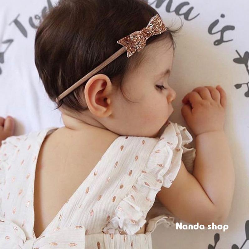 独家进口闪片蝴蝶结头饰Baby婴儿发带宝宝头花弹力带满月周岁日常