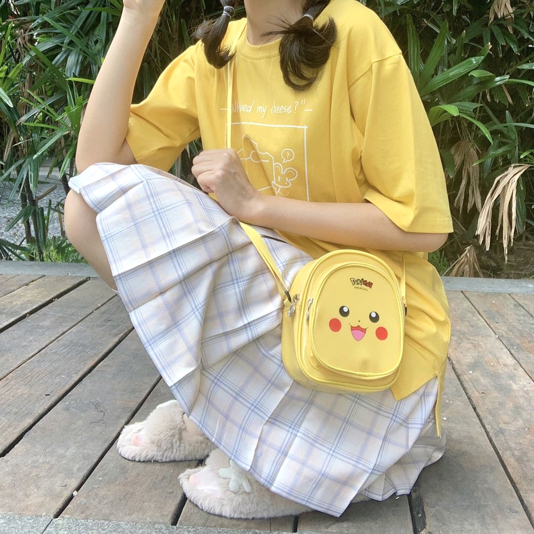 [in stock] Pikachu straddle bag chest bag ins cartoon leisure Cute Mini Backpack Mini jelly bag