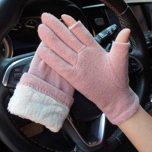 克拉斯卡冬季男女情侣露指触屏手套