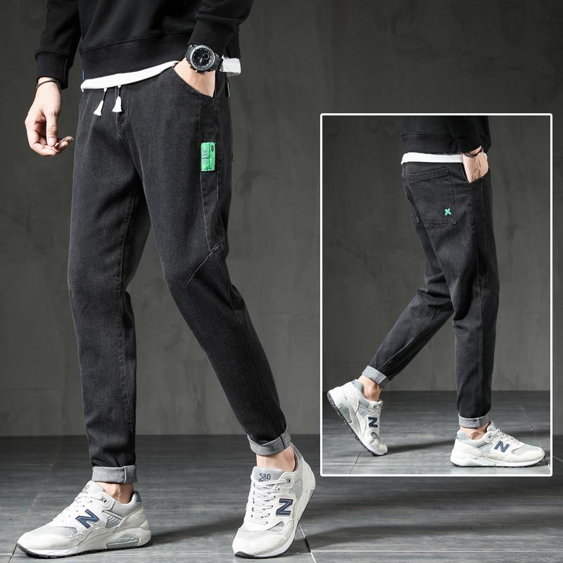 牛仔裤男潮牌直筒黑色牛仔长裤夏季新款男士慢跑裤子潮流男裤