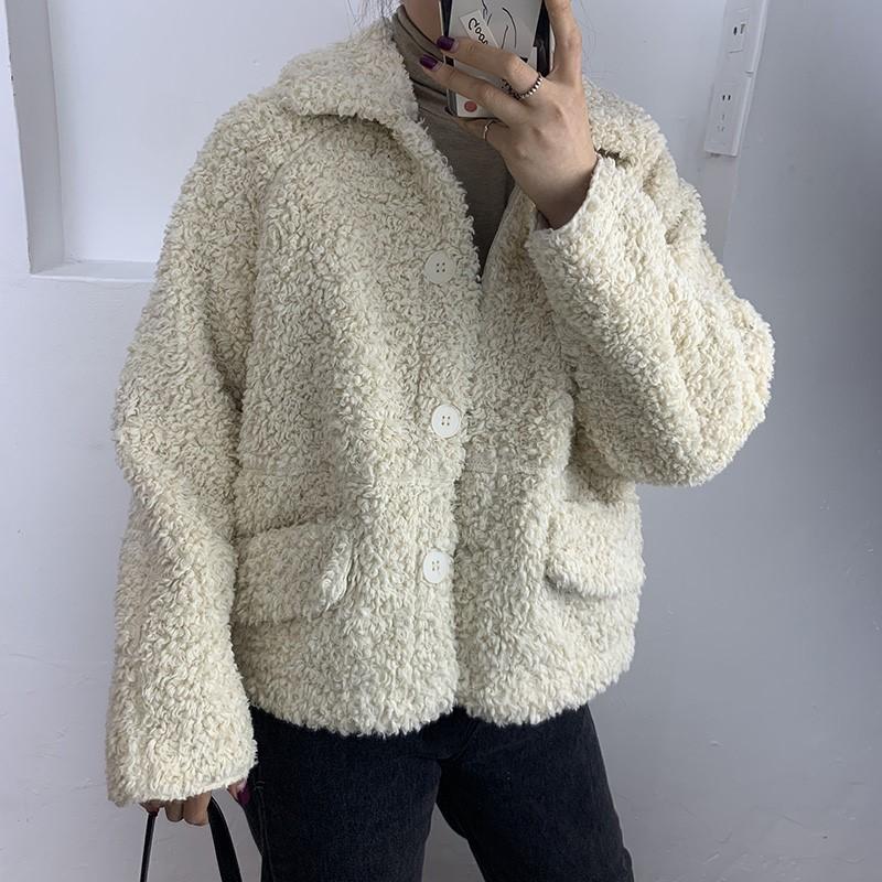 7722羊羔毛外套女装2019冬款韩版宽松颗粒羊剪绒短款皮毛一体女潮