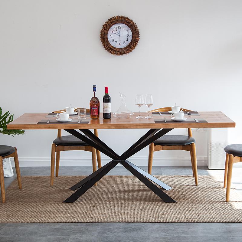 Северный дизайнер 6 человек небольшая квартира прямоугольная поколение Простой обеденный стол гостиная обеденный стол кованое железо сплошная древесина большой обеденный стол