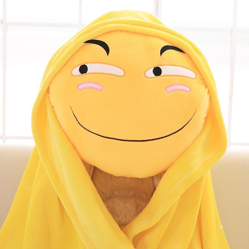 大黃臉滑稽抱枕被qq表情包微笑裝逼惡搞靠枕辦公室兩用靠墊午睡枕
