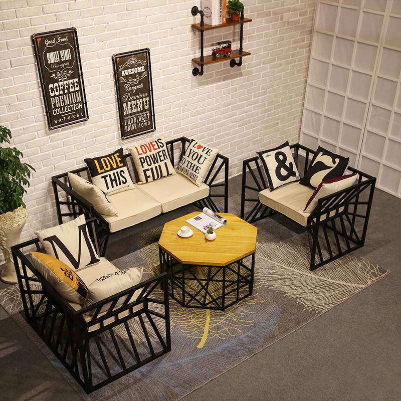 北欧铁艺茶几沙发个性办公室沙发椅休闲沙发组合布艺单双人沙发椅