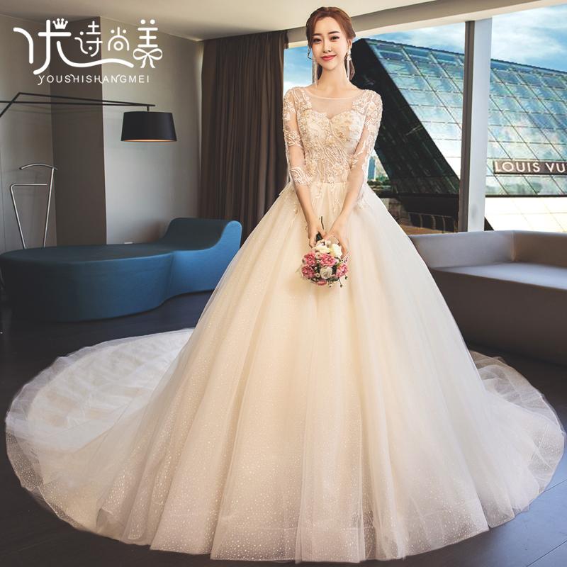 婚纱2019新款新娘显瘦简约法式小个子女拖尾奢华超仙简约森系礼服,可领取50元天猫优惠券