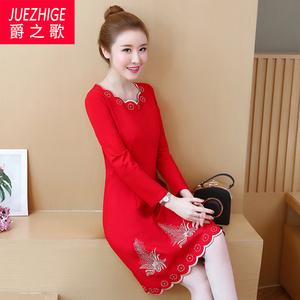 秋装2020年新款女高端大码女装红色冬裙长袖遮肚子显瘦连衣裙秋冬