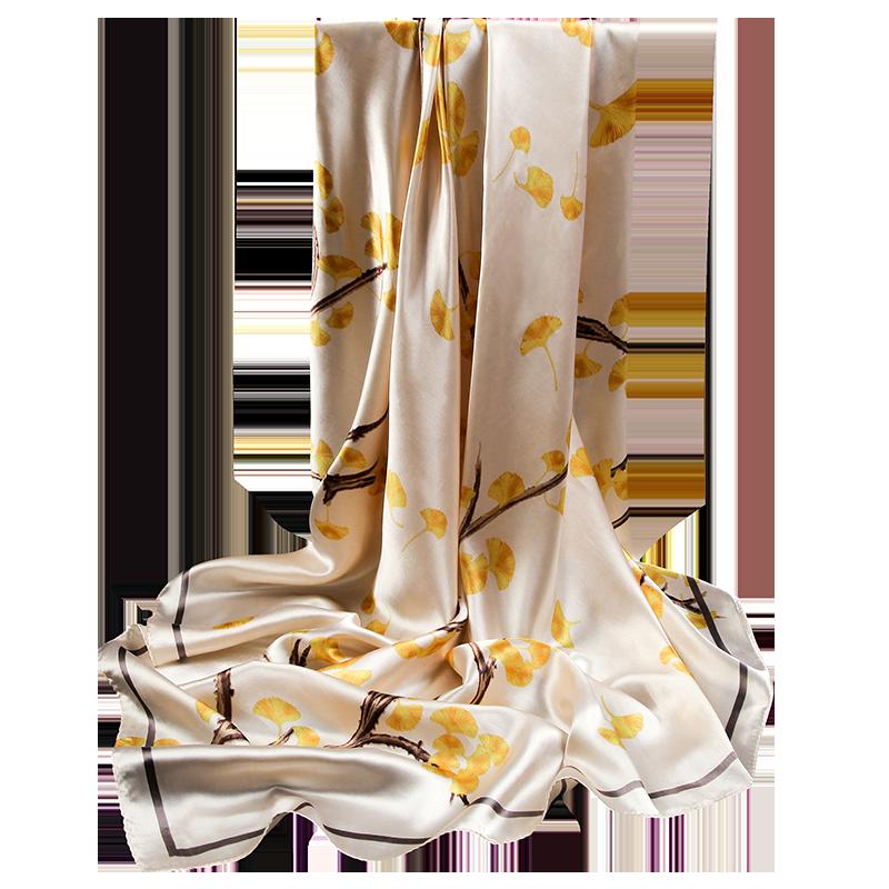 上海故事白色方巾丝巾女百搭春秋90x90cm搭配西装系脖子围巾秋季