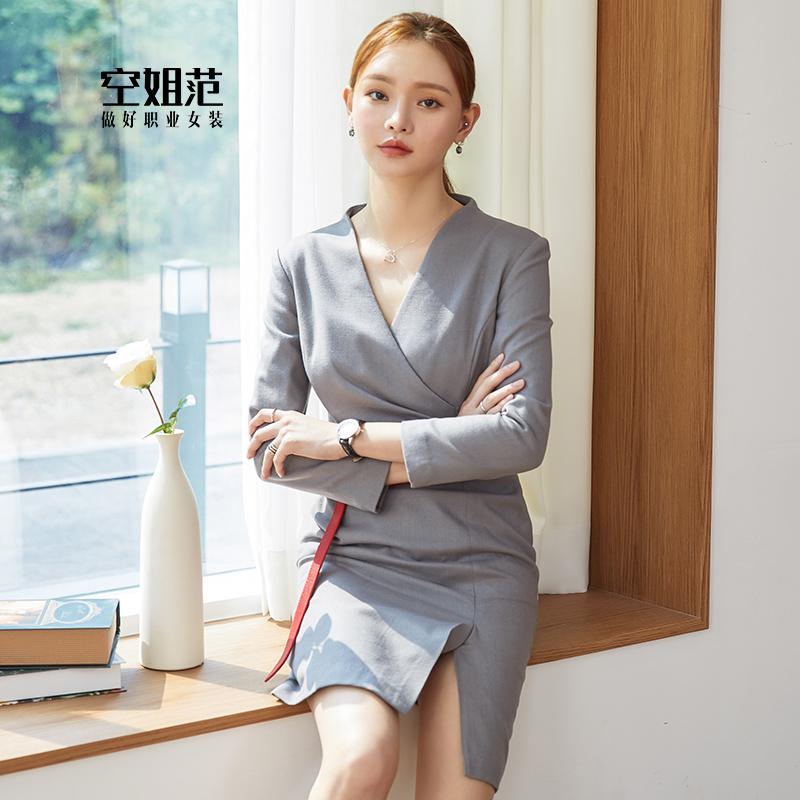 灰色职业装连衣裙女长袖秋季气质女神范OL风通勤工装美容师工作服
