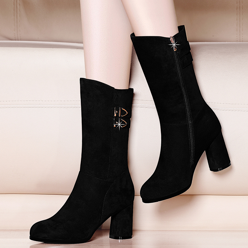 Shoes 2020 womens winter new Suede Boots childrens middle tube boots high heel half barrel frosted short boots Plush tide