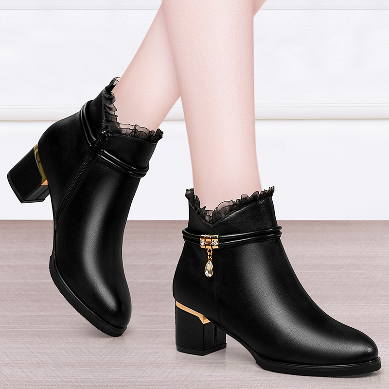 Leather boots womens thick heeled new high heeled shoes in autumn and winter 2020