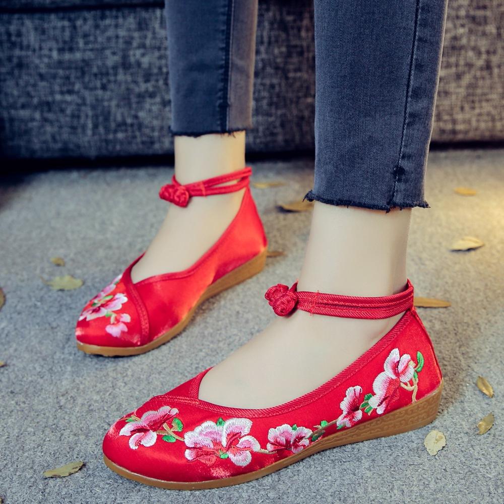 老北京布鞋女绣花鞋时尚坡跟鞋复古民族风女鞋单鞋绣花布鞋传统
