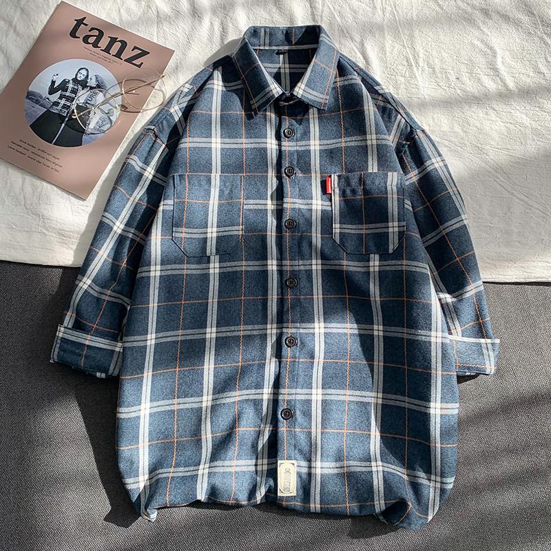 夏季男士七分袖格子衬衫韩版修身衬衣青年寸衫潮2002-1-CS106-P30