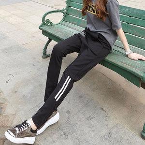 松紧休闲裤女秋冬2018新款韩版修身显瘦女士裤子小脚运动直筒长裤