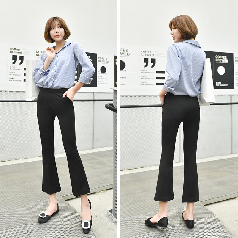 Micro flared pants womens high waisted drop nine points 2019 spring New Black Slim Fit elastic thin wide leg suit pants