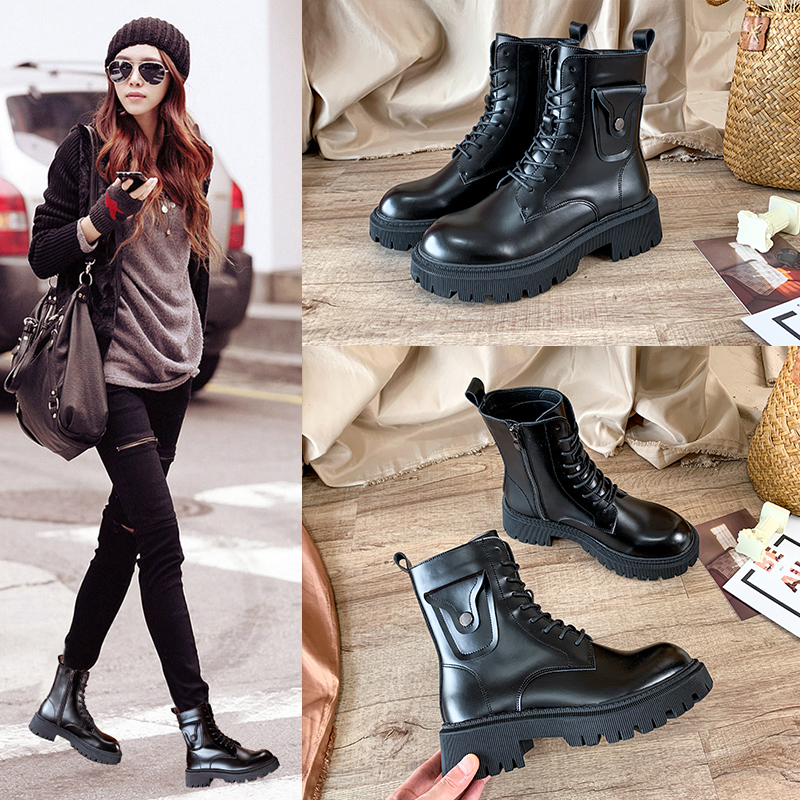 Martin boots womens fashion high heel British style spring and autumn single boots thick heel thick bottom summer thin short boots