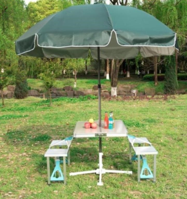 ? Beach dining table promotion folding table chair set seat outdoor car umbrella tea shop stalls integrated