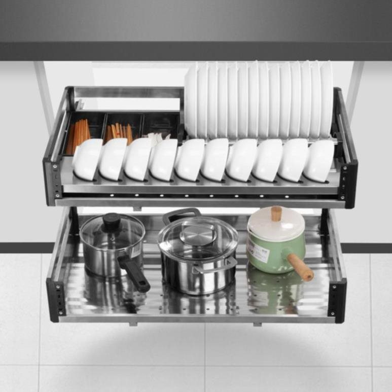 Storage basket movable integrated cabinet hearth pull basket drawer type cupboard tool chassis double layer bowl basket high cabinet adjustment