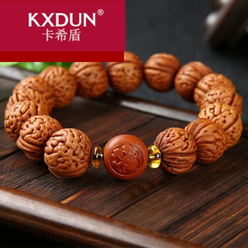 KXDUN/卡希盾脑纹山核桃胡手串龙纹小桃核文玩把玩件佛珠手XJ0401