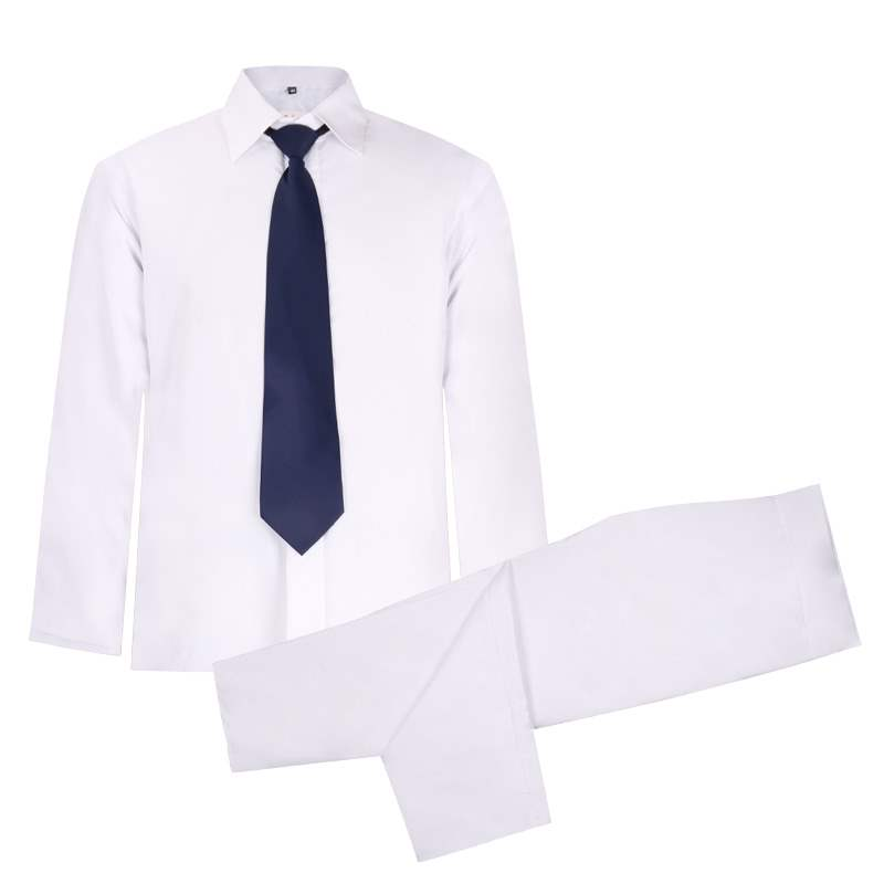 Boutique cotton mens shirt Panties White mens long sleeve Lapel loose edition shirt panties set with tie