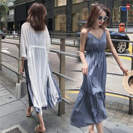 韩版大码女装2019夏季新款夏中长裙