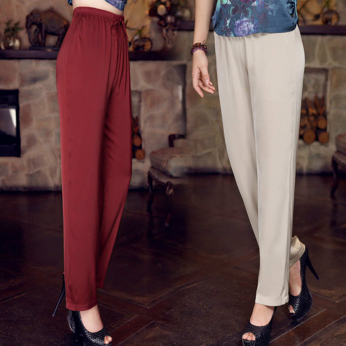 Heavyweight silk womens pants straight tube wide leg pants silkworm silk loose large size middle-aged mother in summer