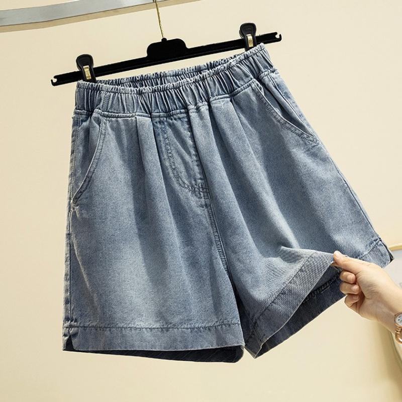 大码阔腿牛仔短裤女微胖妹妹春夏季宽松a字裤胯大腿粗显瘦五分裤