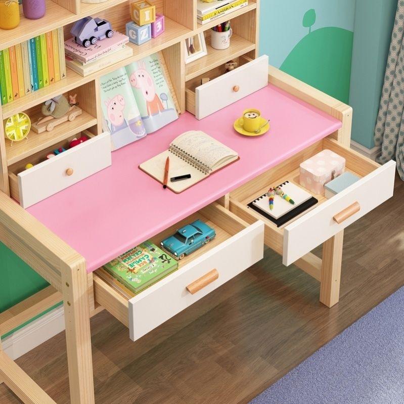 儿童学习桌带书架实木可升降简易家用课桌椅套装简约粉色学生书桌